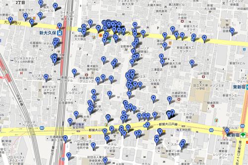 新大久保コリアンタウンマップ 2012年11月版